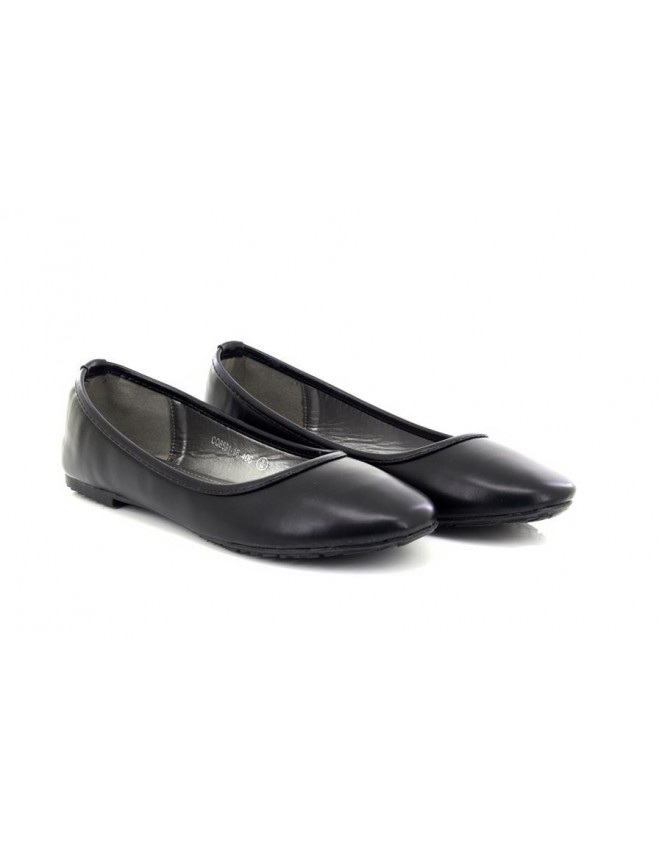 aa8a2e2aec8f Ladies Girls Plain Black Flat Slip on Ballerina Ballet Dolly Style Shoes