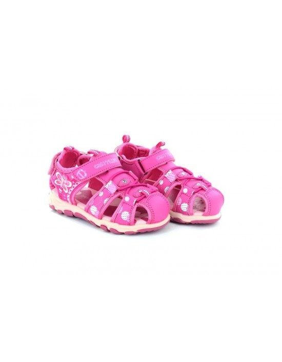 Girls Pink Chatterbox Velcro Strap Cushioned Summer Adventure Sandals