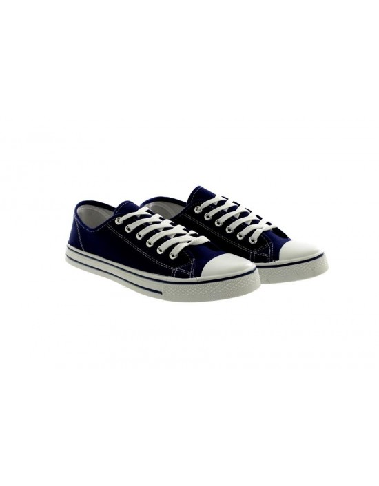 Mens Lace Up Navy Comfort Canvas Summer Shoes