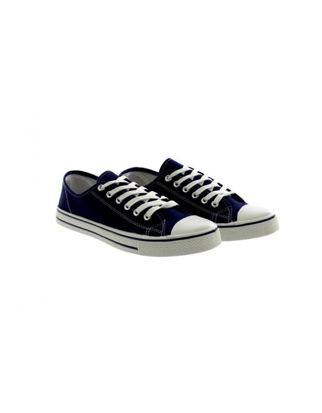 fd4c76d002 Unisex Flat Plimsolls Pumps Trainers Navy Lace Up Canvas Shoes