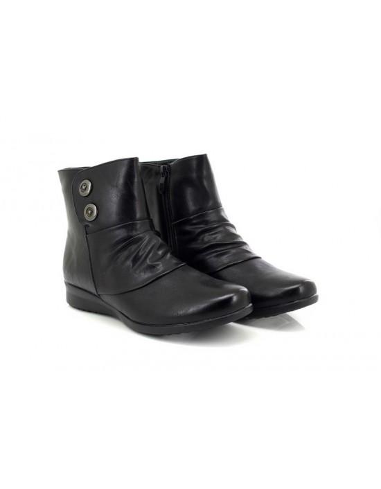 Cat Eyes L136 Linda Flat Ruched Vamp Inside Zip Ankle Boots