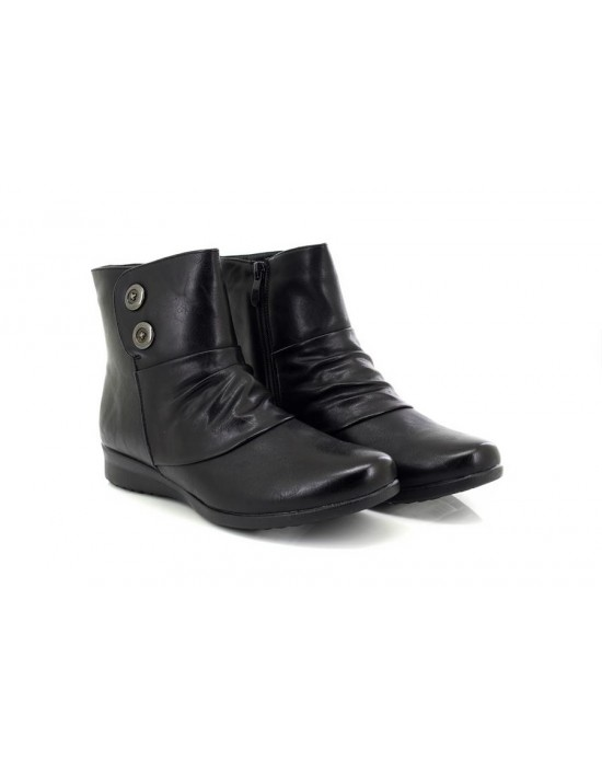 Cat Eyes Linda Flat Ruched Vamp Inside Zip Ankle Boots