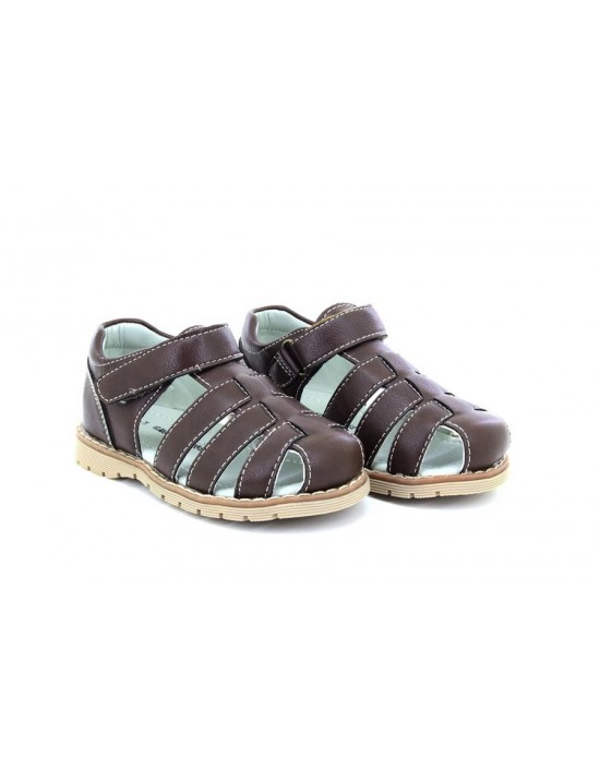 Boys Chatterbox LEO Closed Toe Flexible Summer Casual Sandals Brown