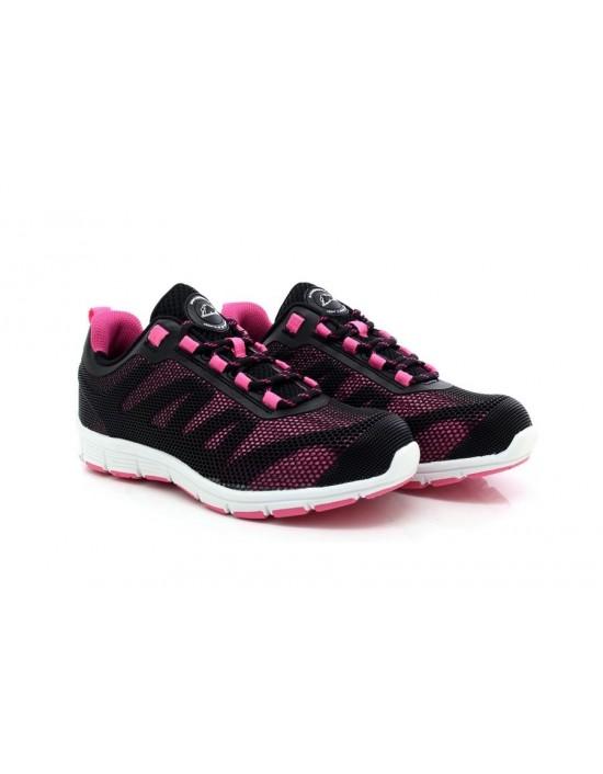 Ladies Ultra Lightweight Black Pink Groundwork GR44 Safety Comfort Trainers