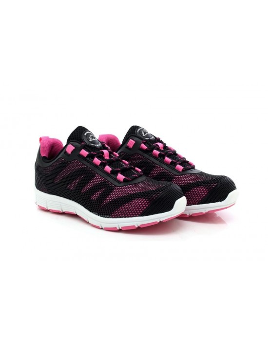 Ladies Ultra Lightweight Black Pink Groundwork GR44 Safety Comfort Trainers