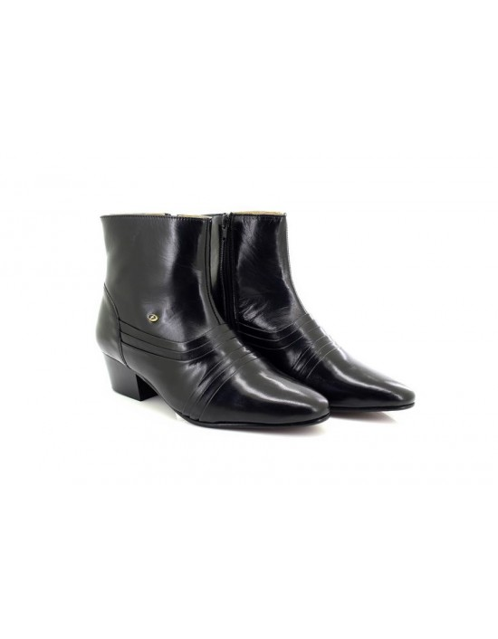Mens Lucini Leather Cuban Heel Ankle Black Boots Zip Fastening 6006