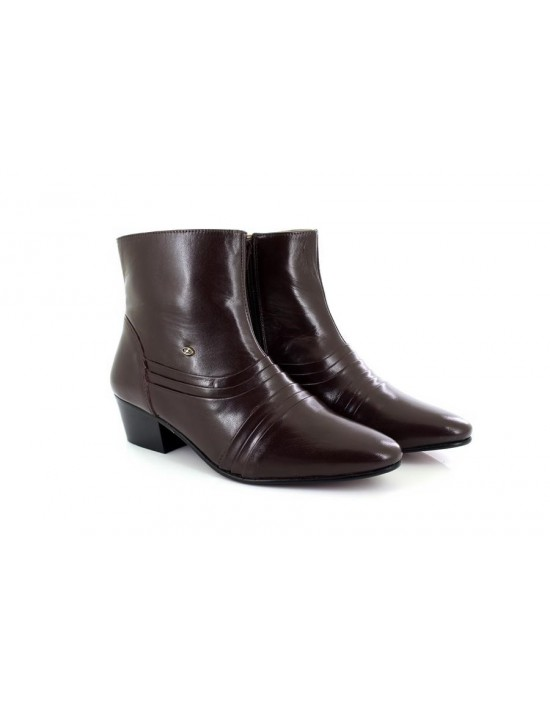 Mens Lucini Leather Cuban Heel Ankle Brown Boots Zip Fastening 6006