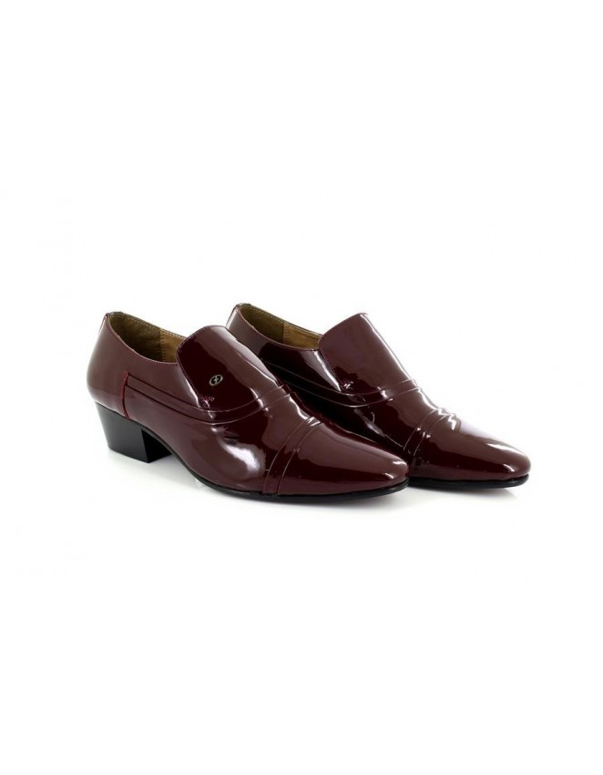 6a725fd07dc Mens Lucini Burgundy Patent Leather Slip On Cuban Heel Shoes