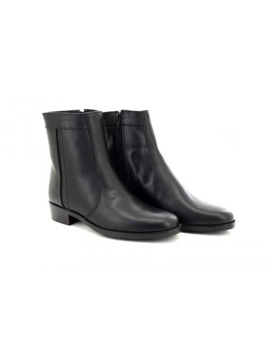 Scimitar Plain Welt Fashion Leather Side Zip Ankle Boots Mid Heel