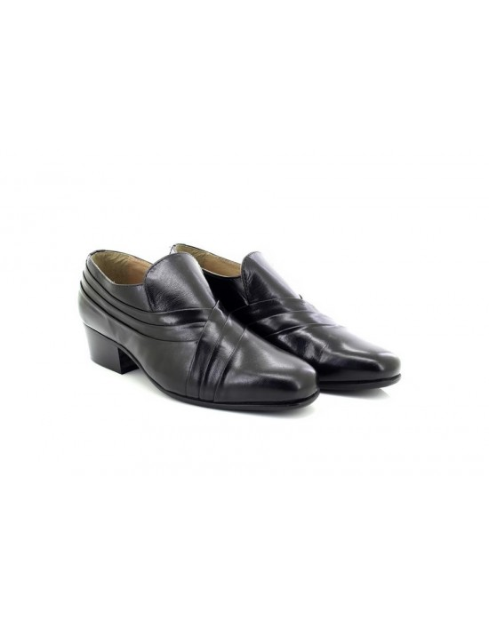 Montecatini MT5114 Leather Pleated Vamp Cuban Heel Party Slip On Shoes