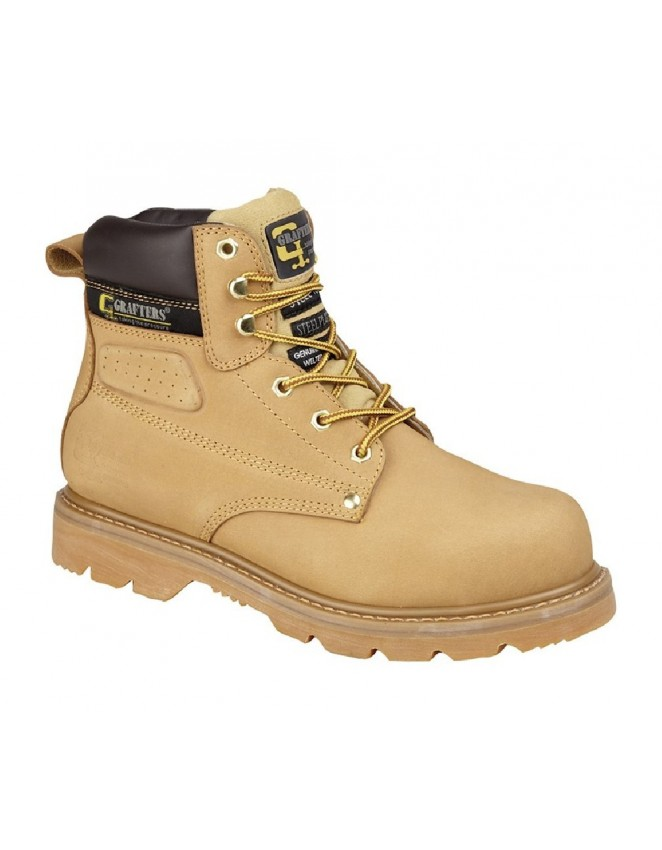 New Grafters Safety Industrial Brown Padded Leather Boots Steel Toe Goodyear