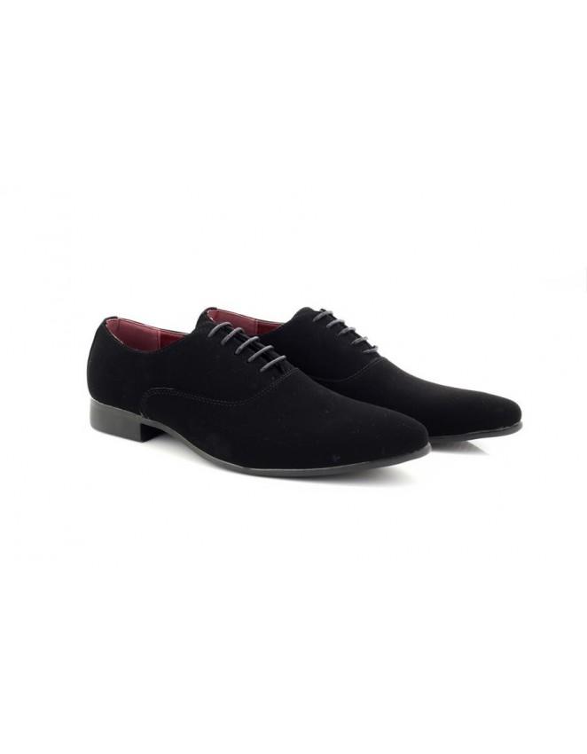 1604de0cfc25c Classics Mens Black Faux Suede Smart Formal Casual Lace Up Smart Shoes