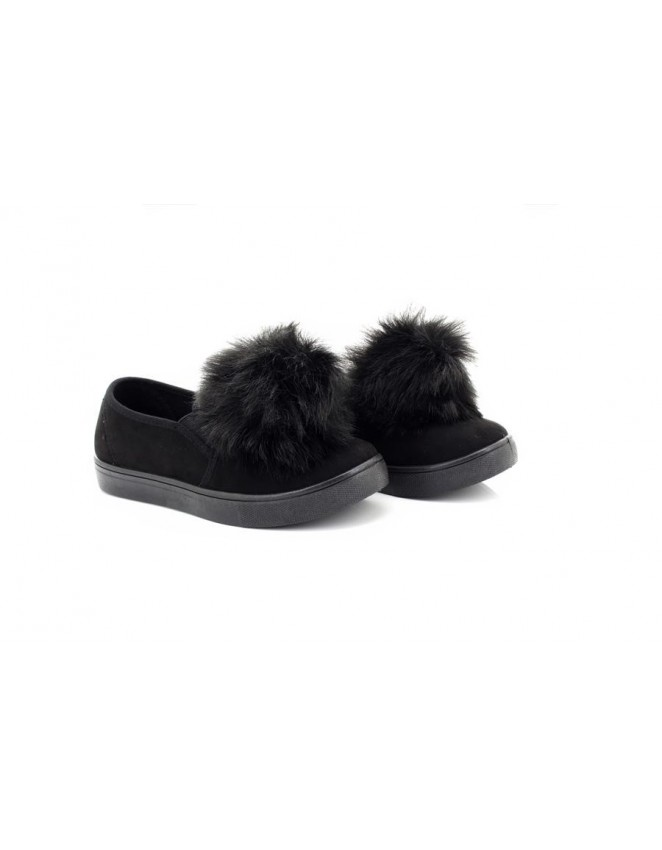New Truffle Collection Ladies Girls Black Pom Pom Flat Plimsoll Trainer Pumps