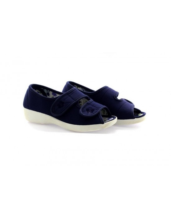 Dr Keller Rose Wide Fit Twin Touch Fastening Open Toe Summer Canvas Shoes
