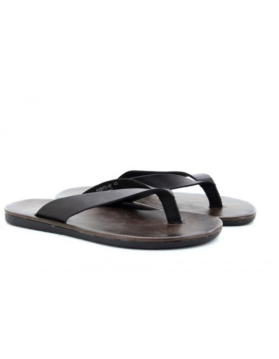 2043693e559 Mens Dark Brown Toe Post Mule Sandals