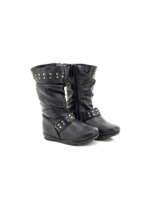 Girls Black Mid Calf Ankle Winter Boots Maisie Biker Riding Fashion Shoes