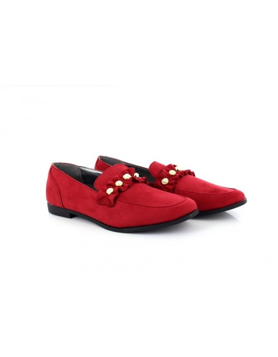 New AW17 Truffle Collection Pearl Embellished Red Velvet Loafers