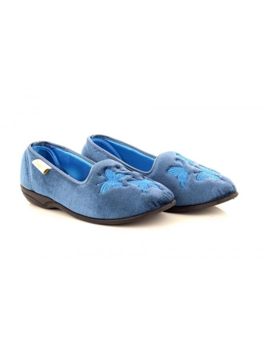 Dr Keller Serafina Ladies Velour PetrolBlue Butterfly Motif Full Indoor Slippers