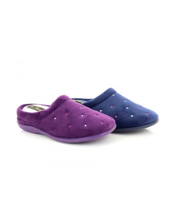 Sleepers CHARLEY Velour Cuff Mule Slippers Extra Comfort Memory Foam Sock