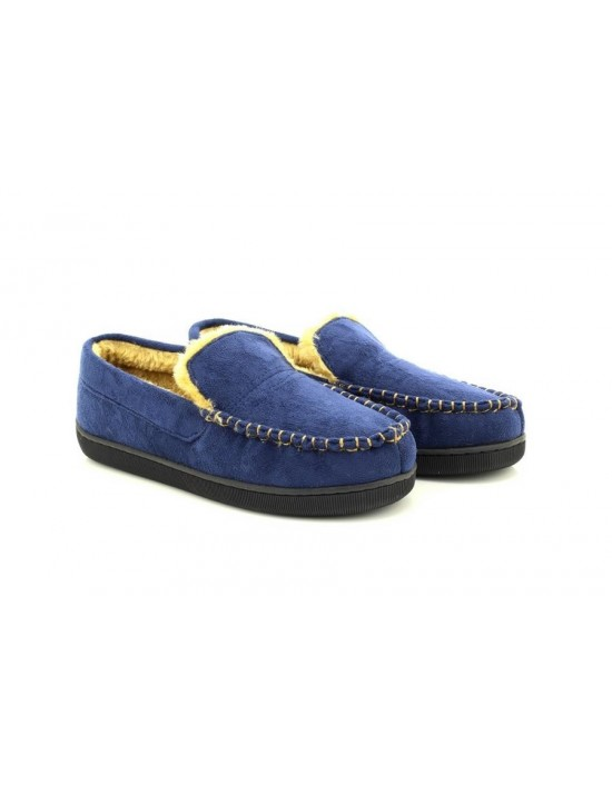 Dr Keller Sean Men's Navy Wide Fit Moccasin Fur Lined Slippers