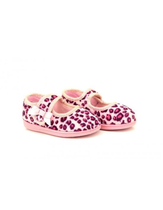 5ea1a6272 Sleepers ELLIE Leopard Print Touch Fastening Bar/Bow Slipper Sleepers ELLIE  Leopard.