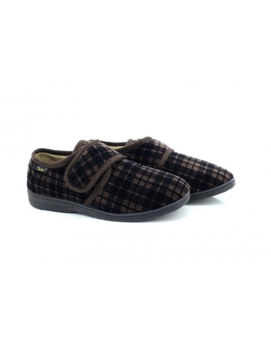 Dr Keller Don Men's Brown Velour Wide Fit Tartan Slippers