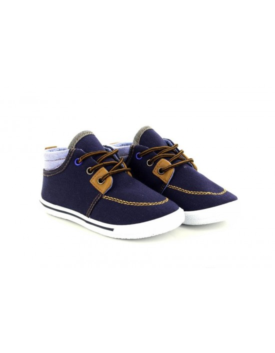 Boys Vince Air Soft Navy Blue Denim Lace Up Canvas Trainers