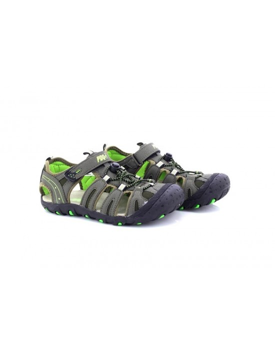 PDQ Boys Toggle & Touch Fastening Dark Taupe Trail Sandals