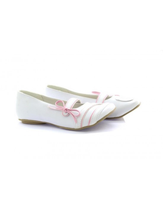 Liquid Candy Flat Ankle Strap White Pink Casual Belly Shoes For Girls