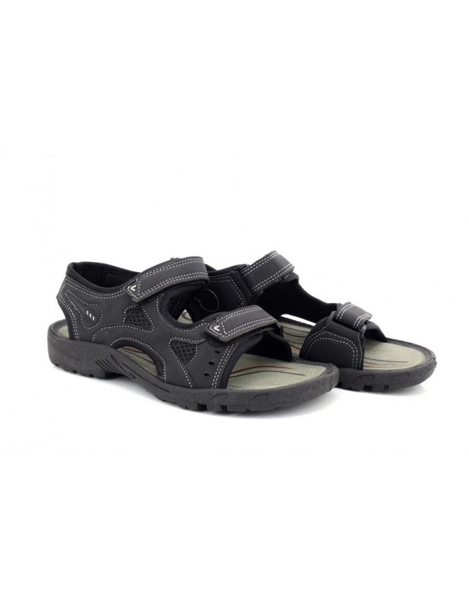 Mens Adventure Black Twin Touch Fastening Elasticated Sandals