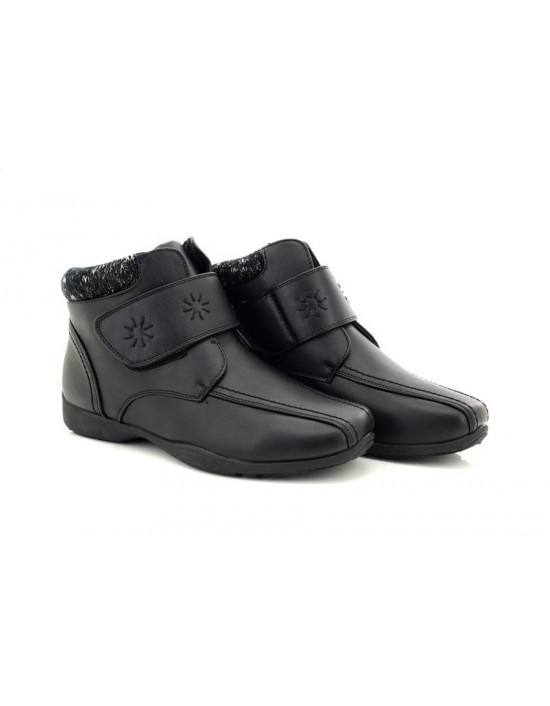 Dr Keller JOICE Ladies Womens Faux Leather Touch Fasten Winter Ankle Boots Black