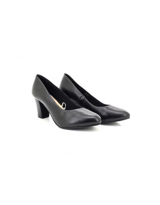 Ladies Comfort Plus Black Wide Fit Real Leather Heel Court Shoes