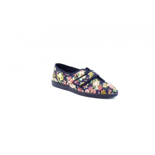 Ladies Floral Cotton Slippers Touch Fastening V Opening Casual Sleepers