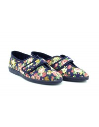 Sleepers WILMA LS866 Floral Wide Open Touch Fasten Slippers