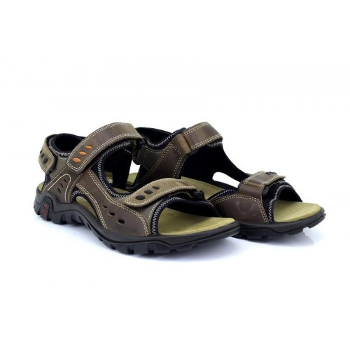 IMAC MENS Deluxe Brown Leather Touch Fastening Sport Sandals Size 7 8 9 10 11 12