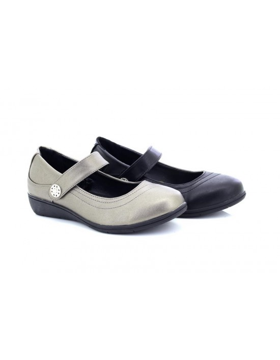 Ladies Dr Keller CANVEY Touch Fastening Comfort Strap Bar Shoes