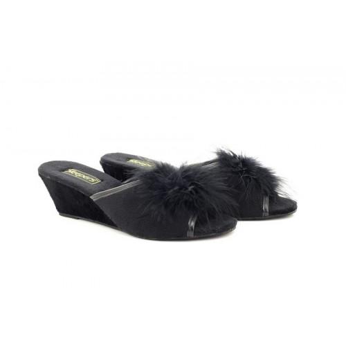 Sleepers ANNE Black Open Toe Rosette Boa Wedge Mule Velour Slippers