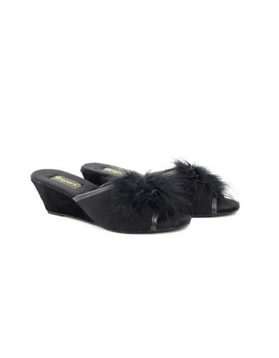 Sleepers ANNE Jewelled Open Toe Rosette Boa Mule Wedge Slippers