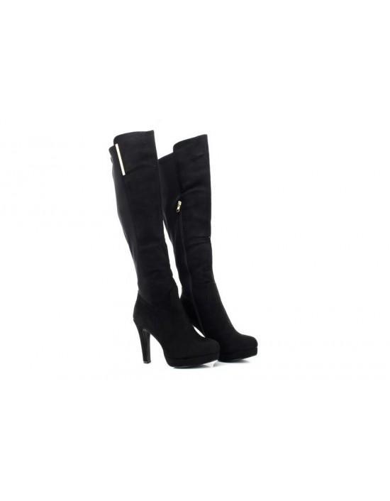 Ladies Envy Black Suede PU Knee High Long Boots