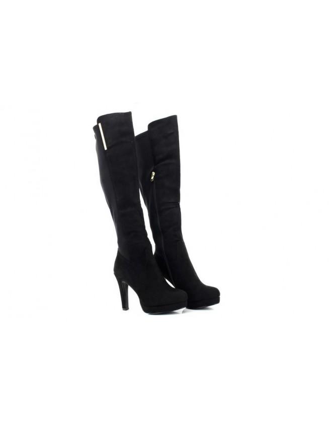 5a1562e541e Ladies Envy Black Suede PU Knee High Long Boots
