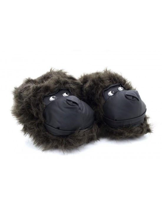 New Black Novelty Gorilla Head Character Slippers Gift Idea