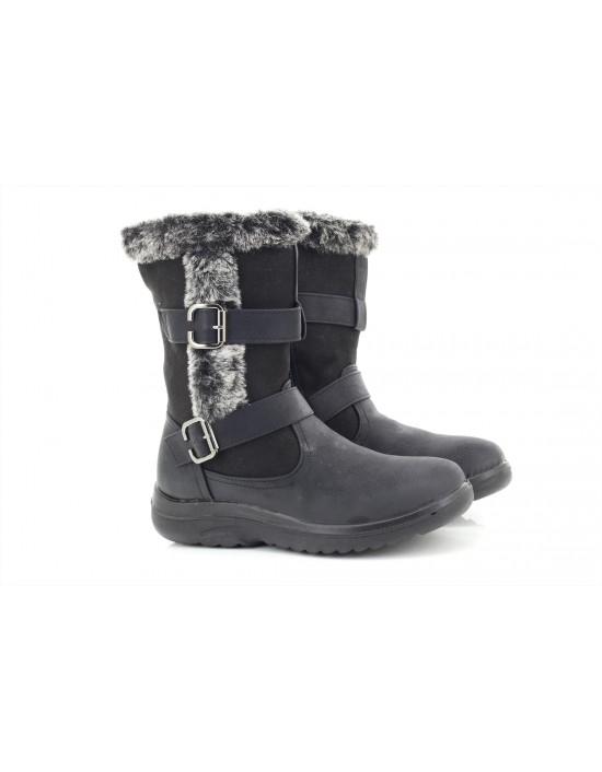 Dr Light foot Boots Side Zip Fur Collar twin Buckle Winter Boots