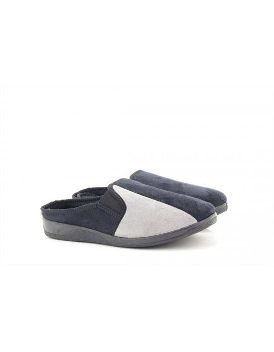 Mens Dave Black Grey Twin Gusset Suede Memory Foam Insole Mule Slippers