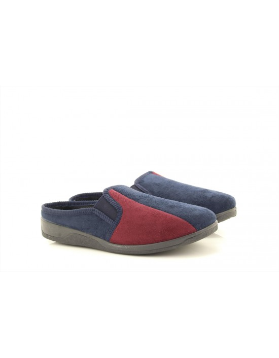 Mens Dave Navy Wine Twin Gusset Suede Memory Foam Insole Mule Slippers