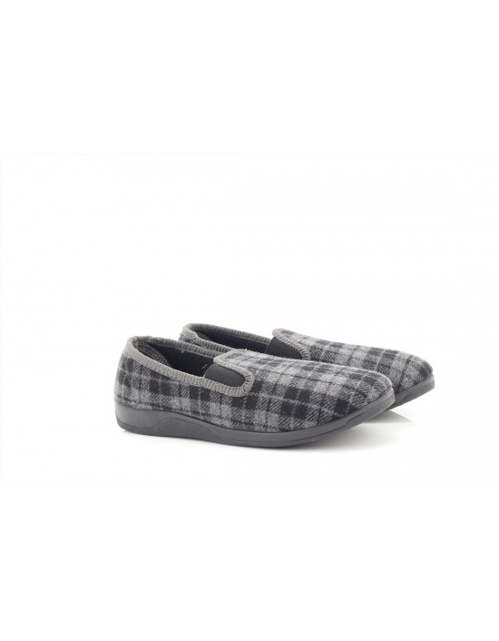 Sleephhh Andy Grey Checked Twin Gusset Full Memory Sole Indoor Slippers