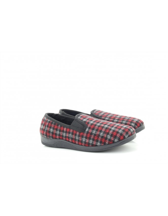 Sleephhh Andy Red Checked Twin Gusset Full Memory Sole Indoor Slippers