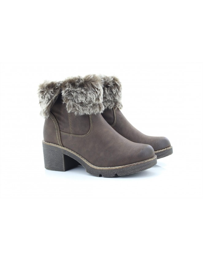 66799f3d9f0 Cipriata L5026B Gabriella Women s Faux Fur Zip Up Heeled Ankle Boots
