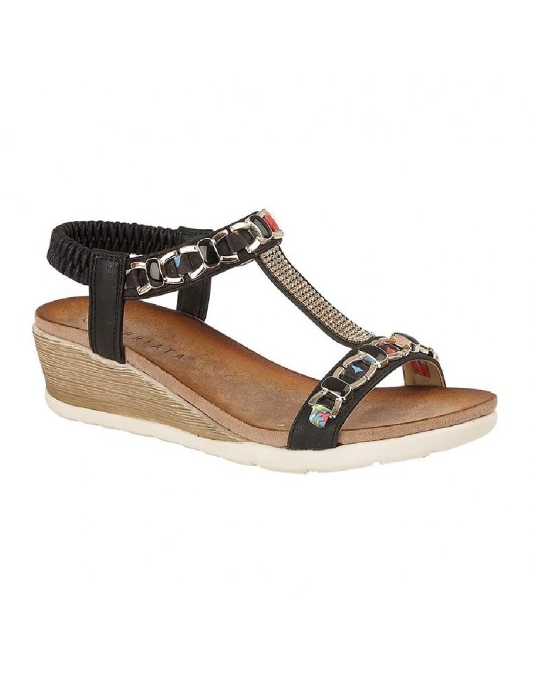 da202e8e4 CIPRIATA BRIZIA Jewelled Elasticated Halter Back Wedge Summer Sandals