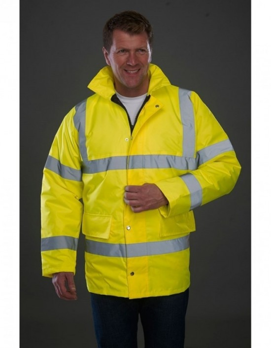 GRAFTERS PP011 HI-VIZ Fluo Yellow 100% Hi-Visibility Waterproof Motorway Jacket