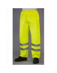 GRAFTERS PP017YEL HI-VIZ Fluo Yellow 100% PU Hi-Visibility Waterproof Over Trousers